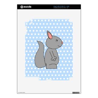 Gray Squirrel on Blue Polka Dot Pattern iPad 2 Decal
