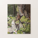 """Gray Squirrels and Trilliums, Squirrels and Flower Jigsaw Puzzle<br><div class=""""desc"""">Two Gray squirrels searching for food on the forest floor,  Gray squirrels and trilliums in the woods, </div>"""