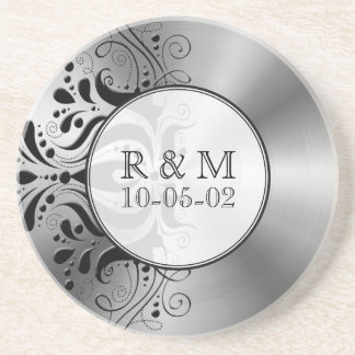 Gray Stainless Steel Look Black Floral Accent Sandstone Coaster