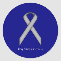 Gray Standard Ribbon by Kenneth Yoncich Classic Round Sticker