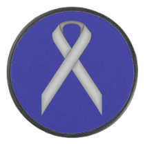 Gray Standard Ribbon by Kenneth Yoncich Hockey Puck