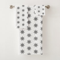 Gray stars pretty towels set