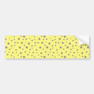 Gray Stars Yellow Pattern Bumper Sticker