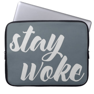 Gray Stay Woke Computer Sleeve