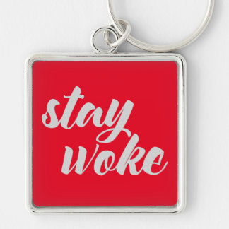 Gray Stay Woke Keychain