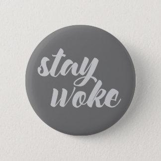 Gray Stay Woke Pinback Button