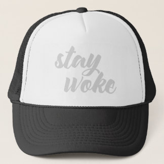 Gray Stay Woke Trucker Hat