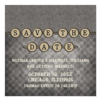 Gray Steampunk Keys Save the Date Invite