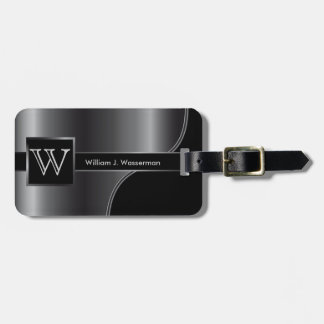 Gray Steel Masculine Monogram Executive Style Luggage Tag
