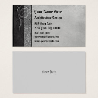 Gray Stone Gothic Scrolls Business Card