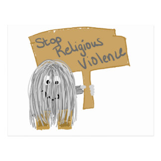 Gray stop religious violence postcard