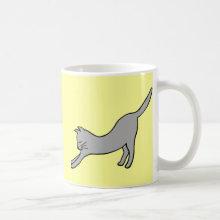 Gray Stretching Cat on Yellow Coffee Mug