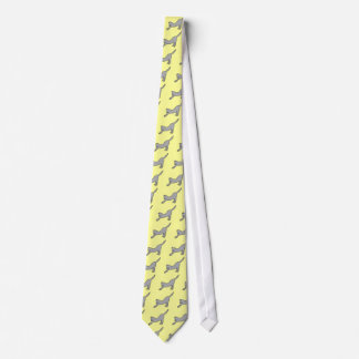 Gray Stretching Cat on Yellow Fashion Tie