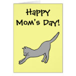 Gray Stretching Cat on Yellow Happy Mom's Day! Greeting Card