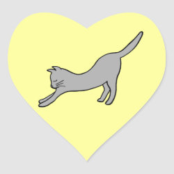 Gray Stretching Cat on Yellow Heart Stickers