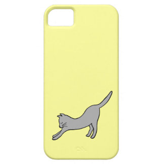 Gray Stretching Cat on Yellow iPhone SE/5/5s Case