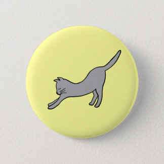 Gray Stretching Cat on Yellow Pinback Button