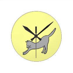 Gray Stretching Cat on Yellow Round Clock