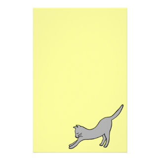 Gray Stretching Cat on Yellow Stationery