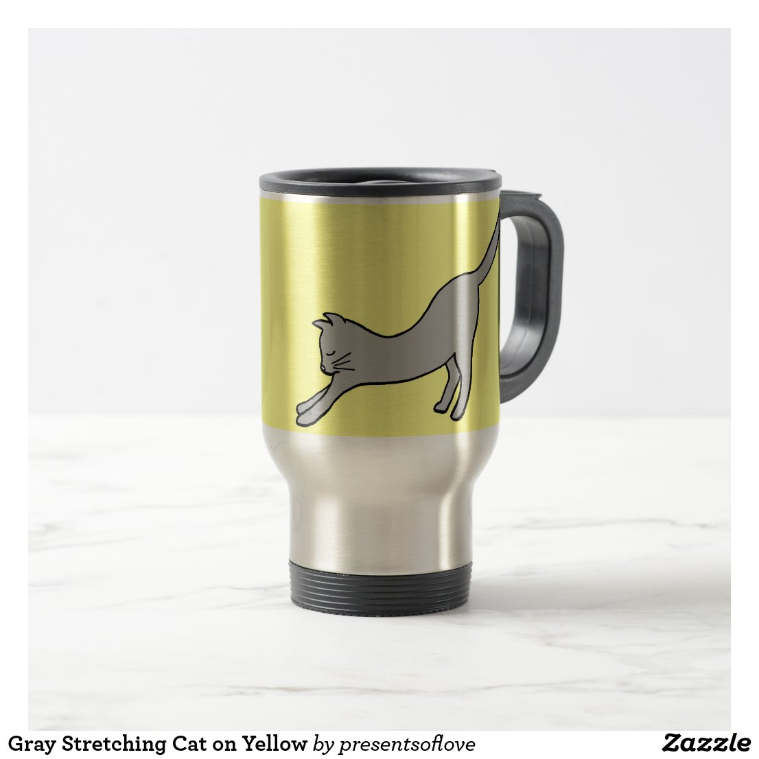 Gray Stretching Cat on Yellow Travel Mug