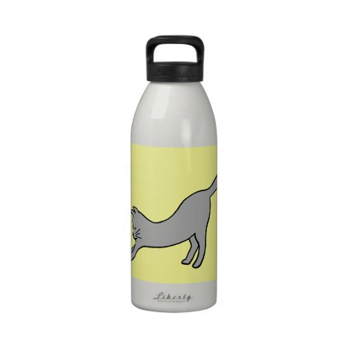 Gray Stretching Cat on Yellow Reusable Water Bottles