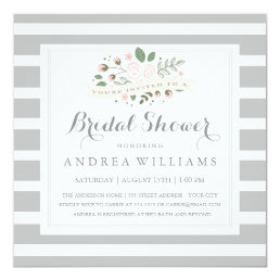 Gray Stripe and Floral Bridal Shower Invite