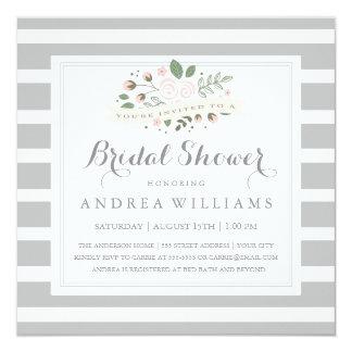 Gray Stripe and Floral Bridal Shower Invite