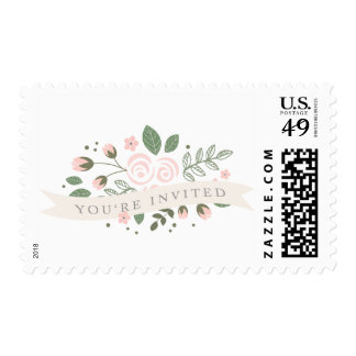 Gray Stripe and Floral Bridal Shower Stamp