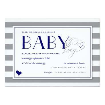 Toddler & Baby themed Gray Stripe Baby Boy Shower and Navy Blue Card
