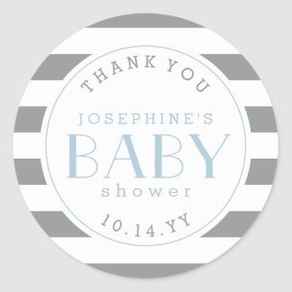 Gray Stripe Baby Shower Thank You Stickers