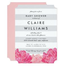 Gray Stripe & Pink Peony Baby Shower Invitation at Zazzle
