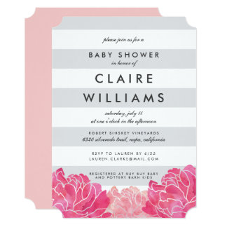 Gray Stripe & Pink Peony Baby Shower Invitation