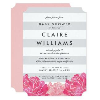 Gray Stripe & Pink Peony Baby Shower Invitation