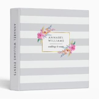 Gray Stripe & Tropical Floral Personalized Binder