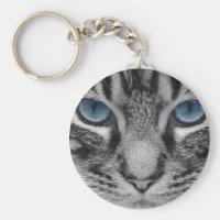 Gray Striped Cat Keychain