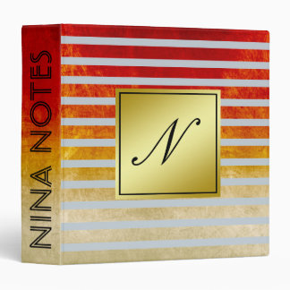 Gray Striped Clean Red Gold Monogram Personalized 3 Ring Binder