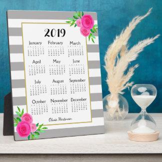 Gray Striped Floral Monogram 2019 Desk Calendar Plaque