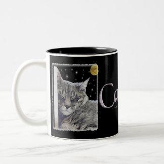 "Gray Striped Kitty Art ""Catnap"" Two-Tone Coffee Mug"