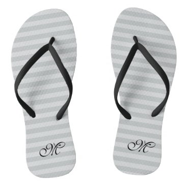Beach Themed Gray striped monogram wedding party flip flops