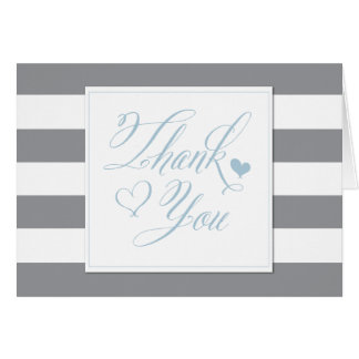 Gray Striped Shower and Light Blue Thank You Cards