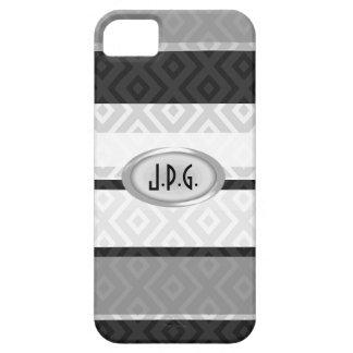 Gray Stripes Diamond Pattern Monogram iPhone Case iPhone 5 Cover