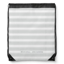 Gray Stripes Drawstring Backpack with Custom Name