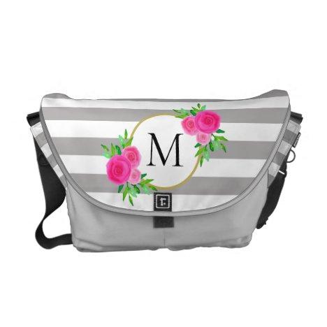 Gray Stripes Hot Pink Cute Floral Monogram Medium Courier Bag