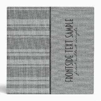 Gray Stripes Linen Burlap Fabric Look Binder