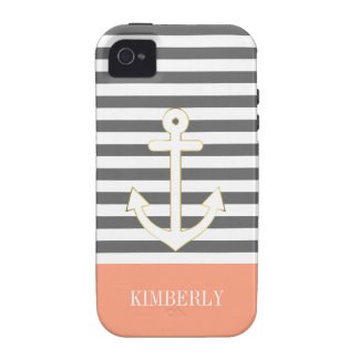 Gray Stripes Nautical Anchor Coral Monogram Case For The iPhone 4