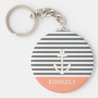 Gray Stripes Nautical Anchor Coral Monogram Keychain