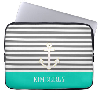 Gray Stripes Nautical Anchor Teal Monogram Computer Sleeve