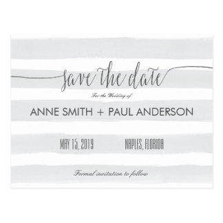 Gray stripes Save the Date Postcard