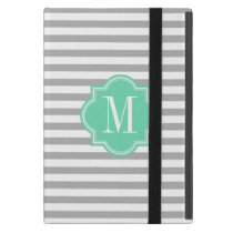 Gray Stripes with Mint Monogram iPad Mini Case