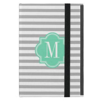 Gray Stripes with Mint Monogram iPad Mini Case